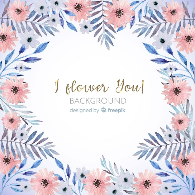 Cute watercolor floral frame background Free Vector