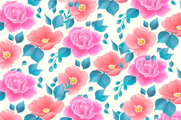 Cute watercolor floral pattern with rose flowers Free Vector