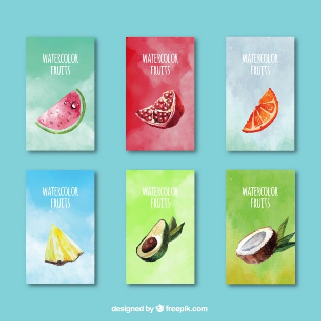 Cute watercolor fruits summer cards Free Vector