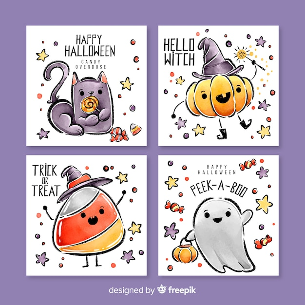 Cute watercolor halloween card collection Free Vector