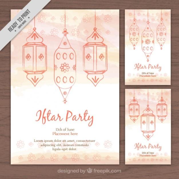 Cute watercolor hand drawn ramadan flyers Vector | Free Download