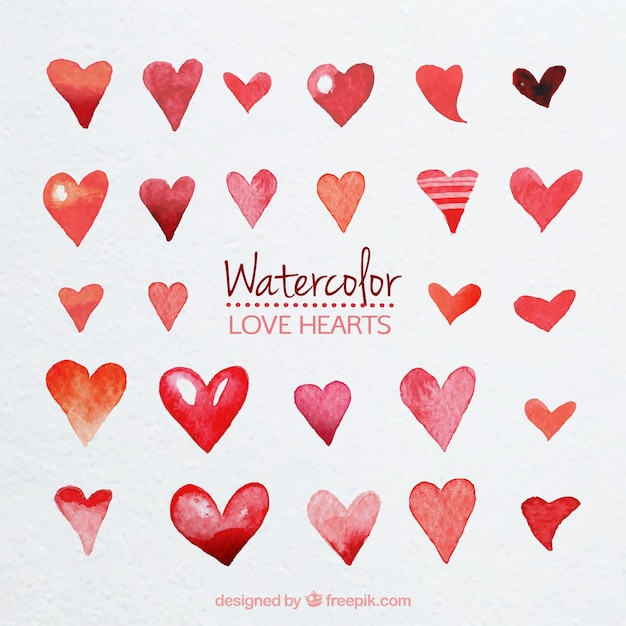 Cute watercolor hearts Premium Vector