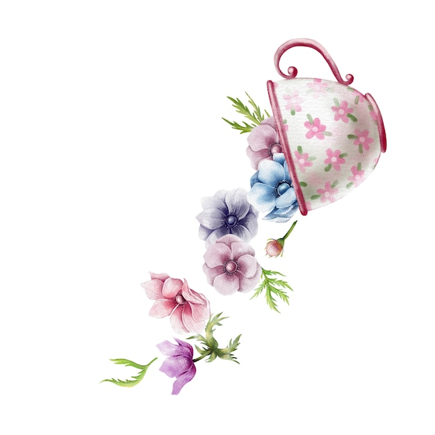 Cute watercolor illustration of vintage cup with anemone flowers Premium Vector