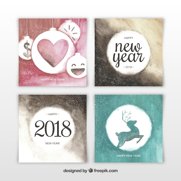 cute watercolor new year 2018 cards free vector