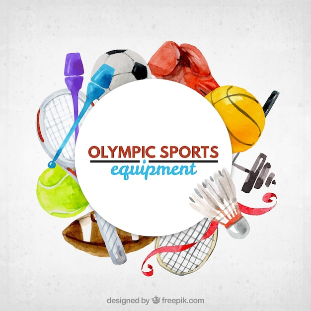 Cute Watercolor Olumpic Sports Equipment Background Vector