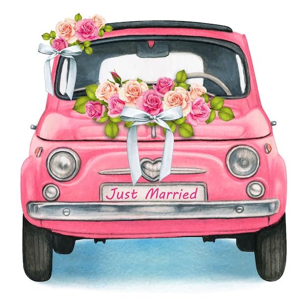 Cute watercolor pink shiny vintage car, wedding day Premium Vector