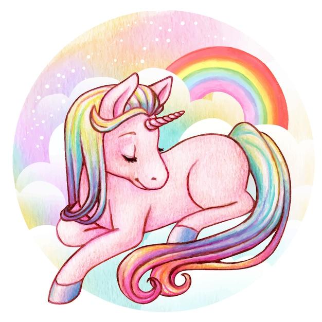 Cute watercolor rainbow unicorn Premium Vector