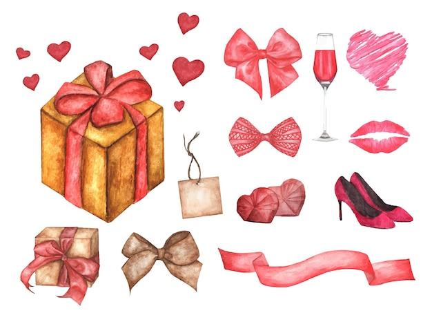 バレンタインデーのデザイン要素のかわいい水彩ロマンチックなイラストセット。 Premiumベクター