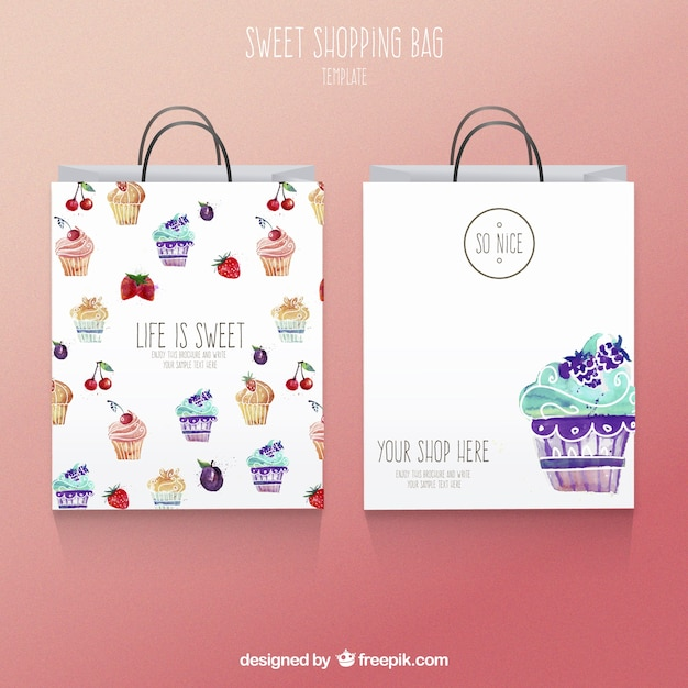 Cute watercolor shopping bags Vector | Free Download