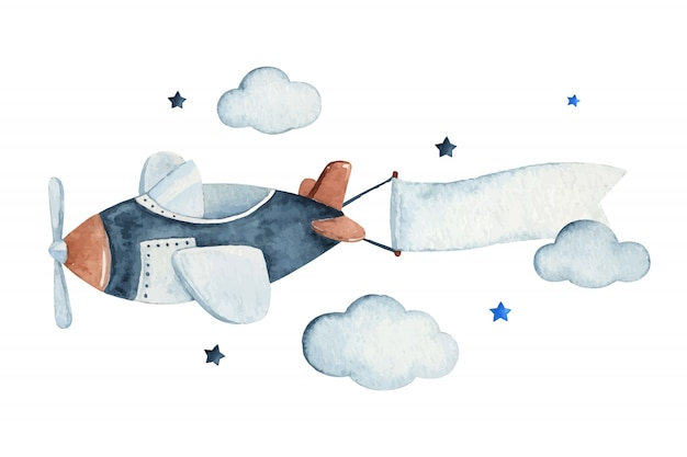 Cute watercolor sky scene with air plane, clouds and stars, watercolor hand drawn illustration. Prem