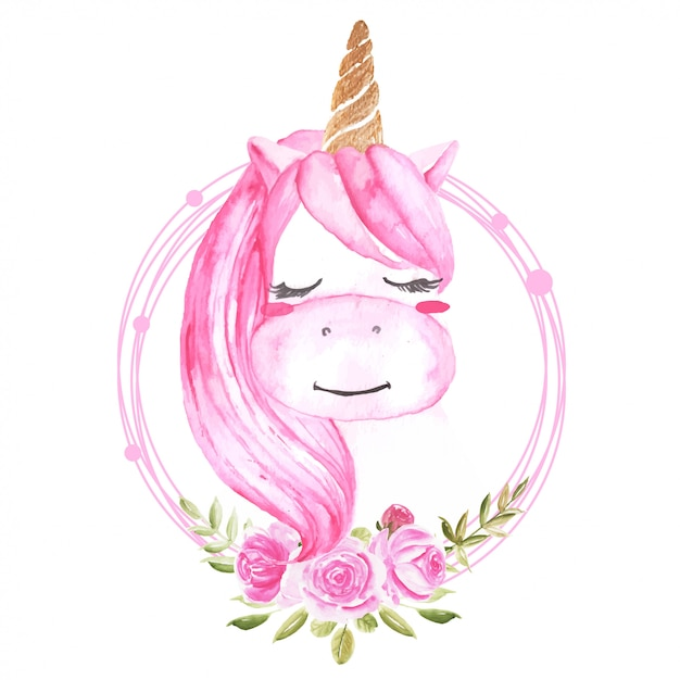 Cute watercolor unicorn with floral wreath pink Premium Vector
