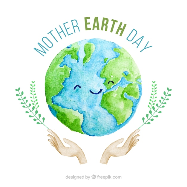 Cute watercolour background for the mother earth day Free Vector