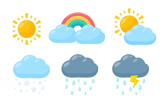Cute weather icon set. weather forecast icon isolated on white background. Premium Vector