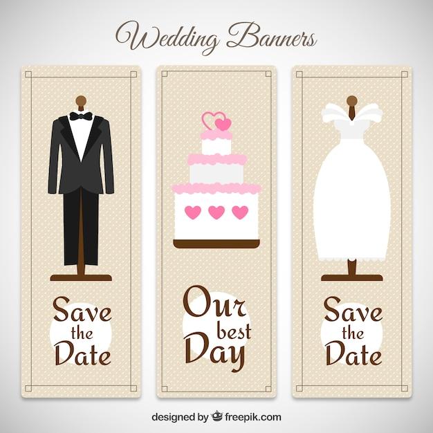 cute wedding banners premium vector
