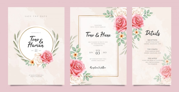 Cute wedding card set template with beatiful floral Premium Vector