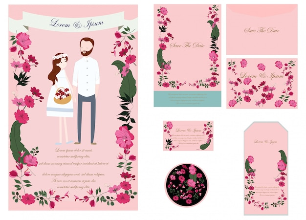 Cute wedding card and tags Premium Vector