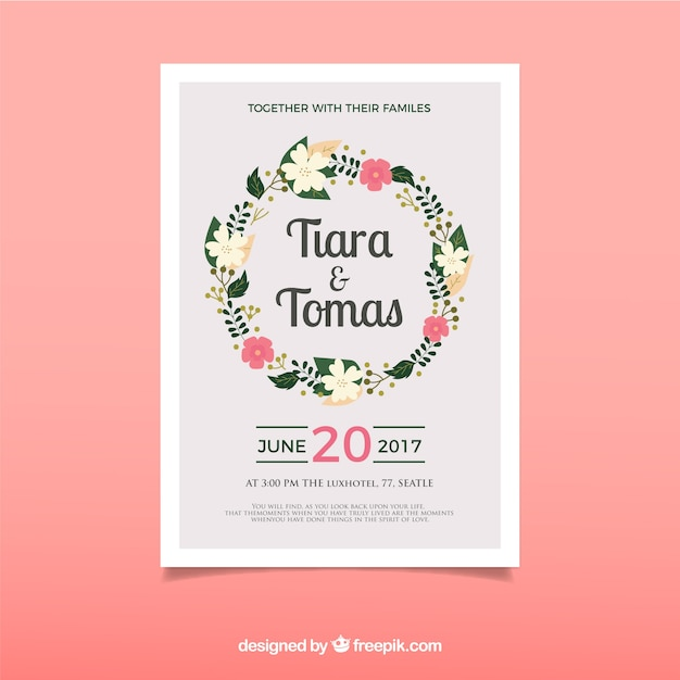 Cute wedding card with flat flowers