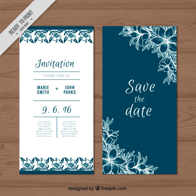 Cute Wedding Card With Sketches Flowers Free Vector