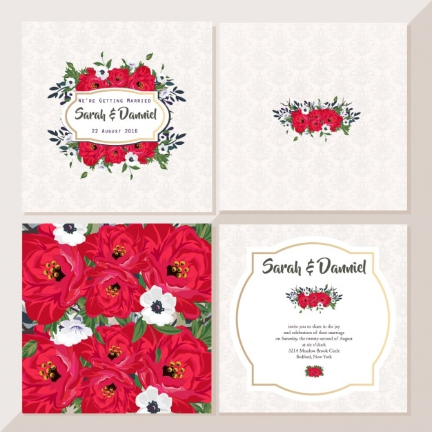 Cute wedding cards with red flowers Free Vector