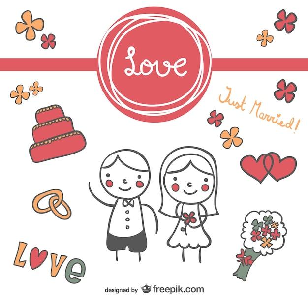 Cute wedding cart doodle invitation Free Vector
