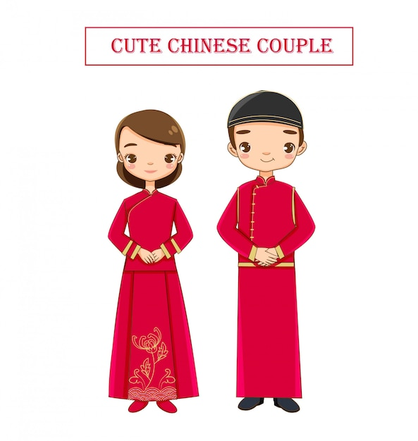 Cute wedding  chinese couple in traditional dress Premium Vector