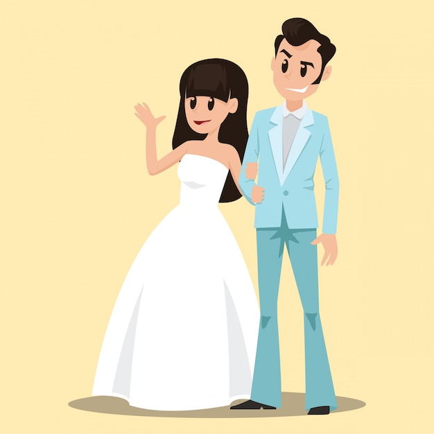 Cute Wedding Couple Background Vector Free Download