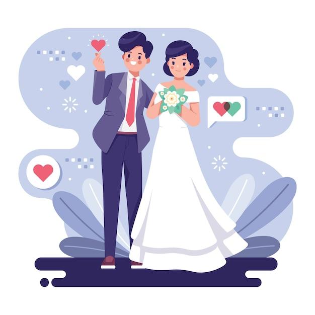 Милая свадебная пара иллюстрации концепции Premium векторы