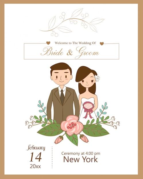 Cute wedding couple for wedding invitations card Premium Vector