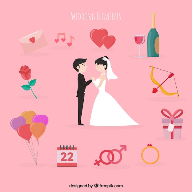 Cute wedding couple with elements around
