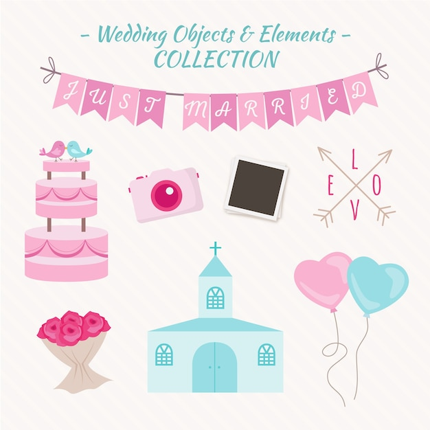 Cute wedding elements and objects Free Vector
