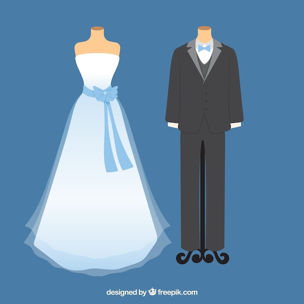 Cute wedding gown and bride dress Vector | Premium Download