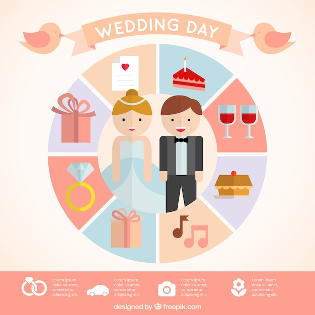 cute wedding infographic in flat design vector free download