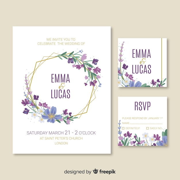 Cute wedding invitation card template Free Vector
