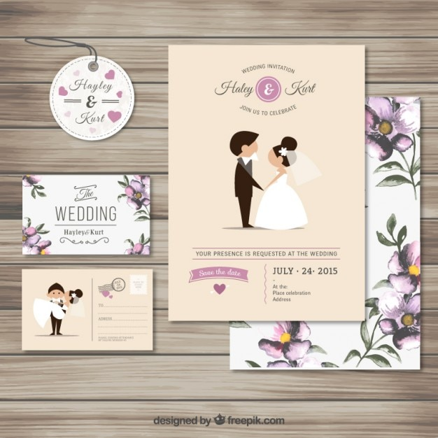 Cute wedding invitation collection Free Vector