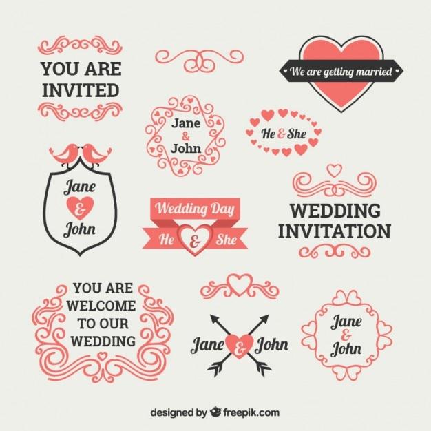 Cute wedding invitation elements vector free download cute wedding invitation elements free vector stopboris Image collections