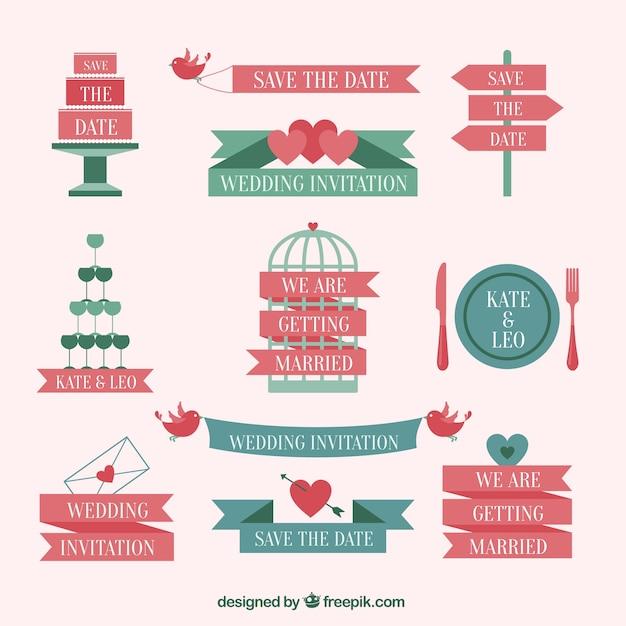 Cute wedding invitation elements vector premium download cute wedding invitation elements premium vector stopboris Image collections