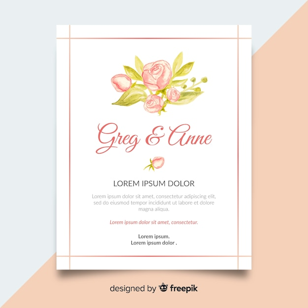 Cute wedding invitation template with peony flowers concept Free Vector