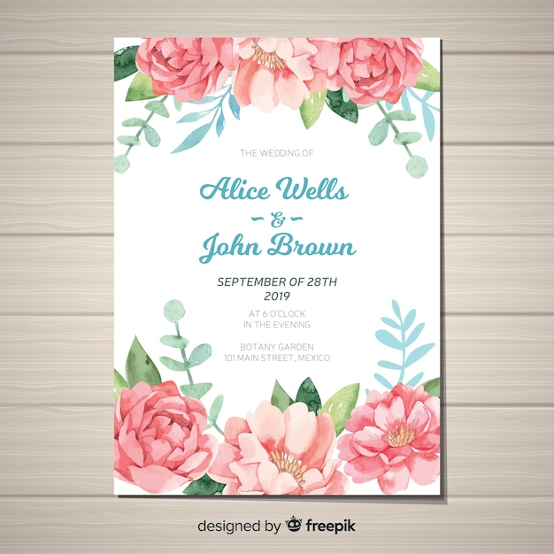 Cute wedding invitation template with watercolor peony flowers Free Vector