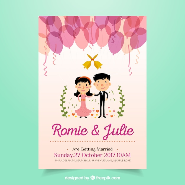Cute Wedding Invitation With Balloons And Newlyweds Free Vector