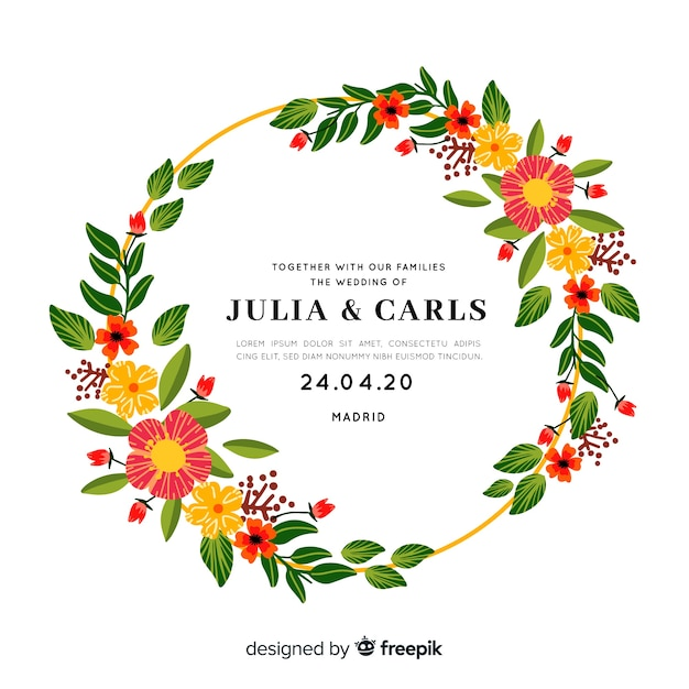 Cute wedding invitation with floral frame Free Vector