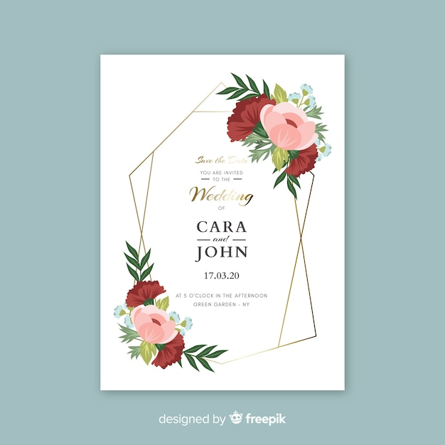 Cute wedding invitation with flowers template Free Vector