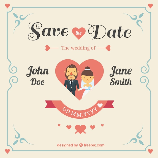 cute wedding invitation with heart vector | free download,