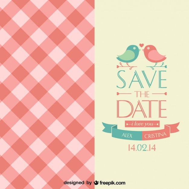 Cute wedding invitation with little birds Vector | Free Download
