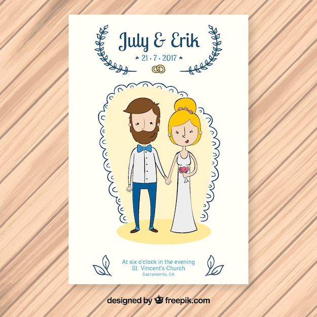 Cute Wedding Invitation With Newlyweds Free Vector