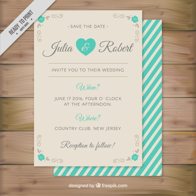 Cute wedding invitation with turquoise stripes Vector Free Download