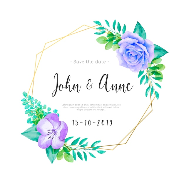Cute wedding invitation with watercolor flowers and leaves Free Vector