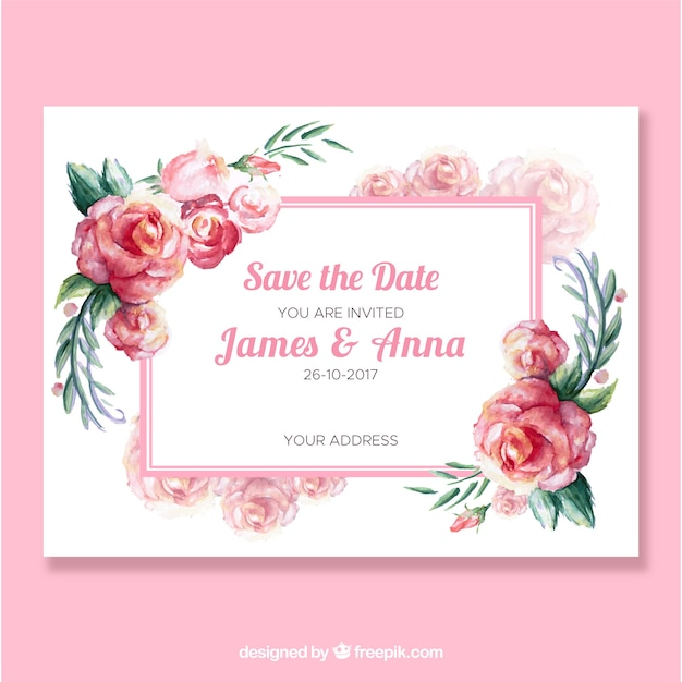 Cute wedding invitation with watercolor roses vector free download cute wedding invitation with watercolor roses free vector stopboris Image collections