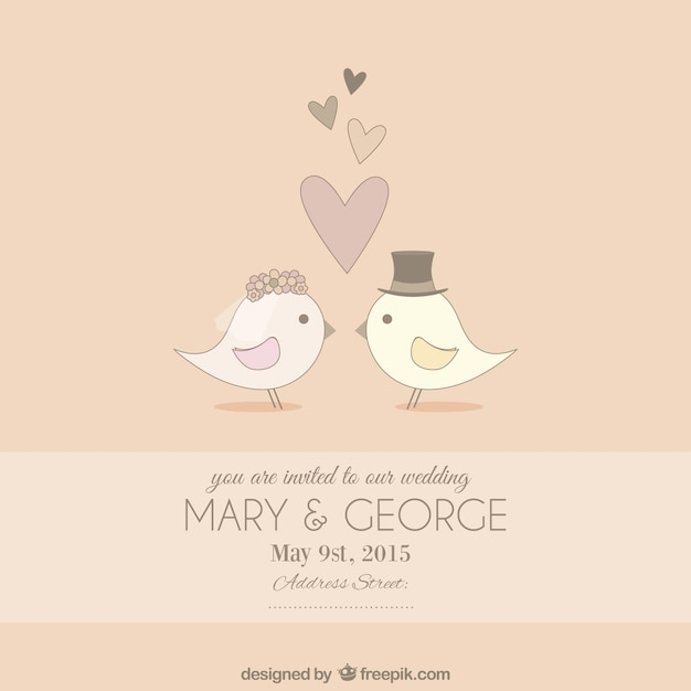 Cute wedding invitation vector free download cute wedding invitation free vector stopboris Image collections
