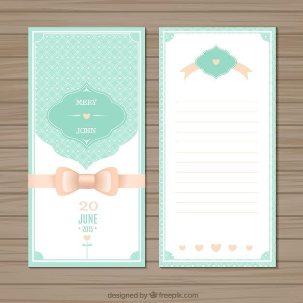Cute wedding invitation Vector Free Download