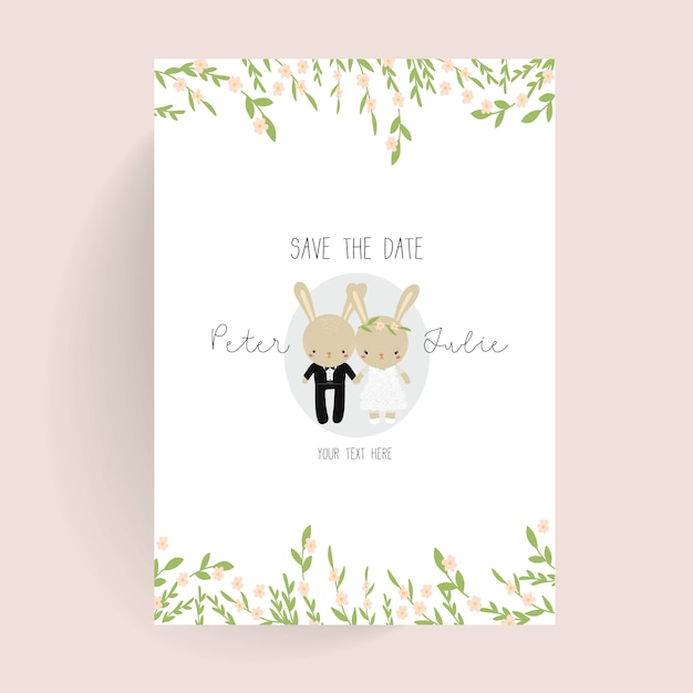cute wedding poster vector free download